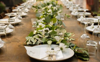 Wedding table setting on a long wood table